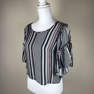 Charlotte Russe Bell Sleeve Crop Striped Blouse